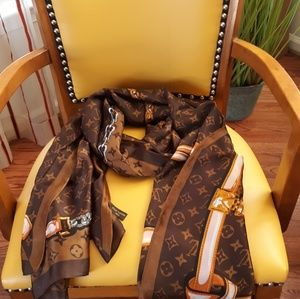 Louis Vuitton Accessories - Large LV brown silk scarf 70x35 mint condition